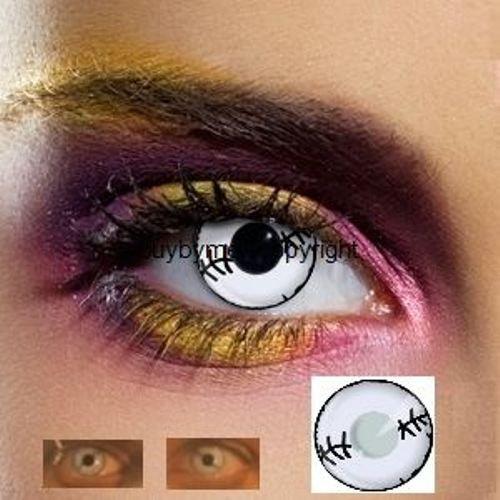 80047 farbige Kontaktlinsen schwarz weiss mumie mummy geist manga cosplay halloween zombie vampire kostüme (Geist Kostüm Mumie)