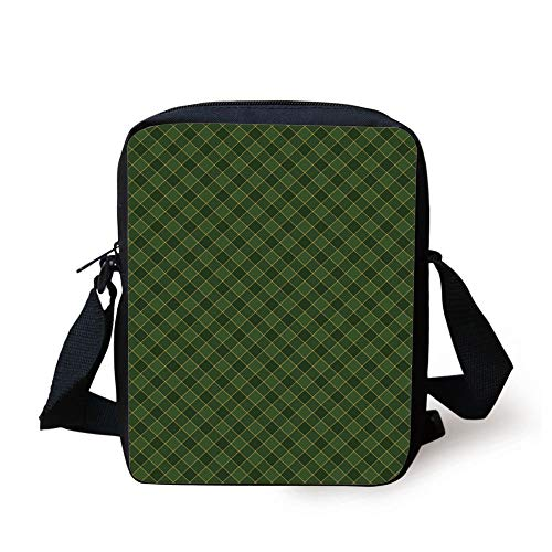 Green,Traditional Old Fashioned Argyle Pattern Retro Style Plaid,Hunter Green Forest Green Yellow Print Kids Crossbody Messenger Bag Purse - Argyle Messenger