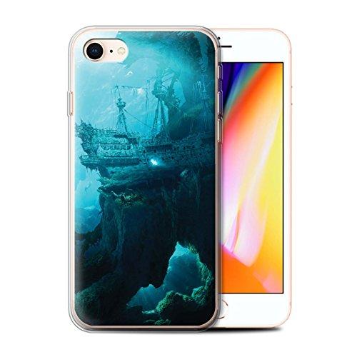 Officiel Elena Dudina Coque / Etui Gel TPU pour Apple iPhone 8 / Forêt Brumeuse Design / Fantaisie Paysage Collection Océan/Epave Navire