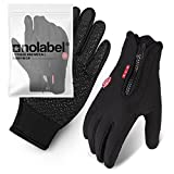 Touch Screen Gloves for Men and Women - Unisex Thermal Glove for Smart Phone Texting with Non-slip Silicone Gel - Hand Warmers - Windproof and Water Resistant for Running Cycling M L XL