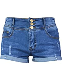 PHOENISING Women's Comfy Denim Fabric Short Pants Stretchy Ripped Hole Jean Shorts,Size 6-20