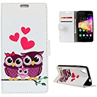 CaseFirst Wiko U Feel Go Wallet Leather Case with Protective Durable Premium Shell Folio flip Cell Phone Cover Bag with Card Slots,Cash Pocket,Owl Family