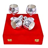 Handicraft Hub India Handmade Brass Wine Glass (Sliver) Set of 4