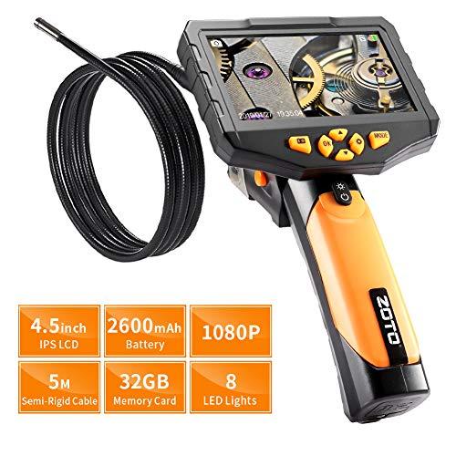 Endoscope Industriel, ZOTO 1080P Full HD 4,5 Pouces IPS LCD Numérique Camera Endoscopique, 7mm Semi-Rigide du Tube 2600mAh Batterie de 32G Mémoire DVR Imperméable Caméra Inspection (5M)