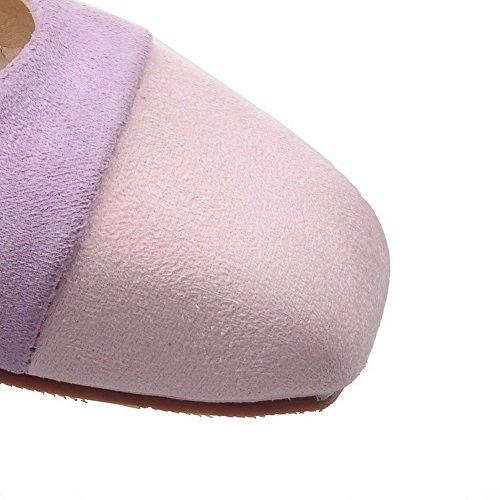 VogueZone009 Donna Punta Quedrata Tirare Pelle Di Mucca Colore Assortito Tacco Basso Ballerine Viola