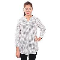 Globus Polka Dot Printed Long Line Top for Women - Black/White
