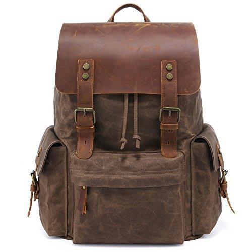 Kattee Vintage Leder Canvas Rucksack Retro große gewachste Canvas Schultasche Wasserdichte Reise Rucksack Herren/Damen passt für 15,6 Zoll Laptop (Braun) -