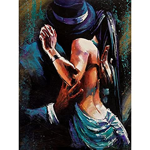 Fait à la main abstraite haute Compétences Artiste Pure danseuse de flamenco Diablo Dance Peinture à l'huile sur toile Belle Décoration murale pour le salon, Toile, 24x36inch(60x90cm)