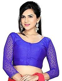 Studio Shringaar Party Fantastic Blue Solid Short Sleeve Non-Padded Blouse