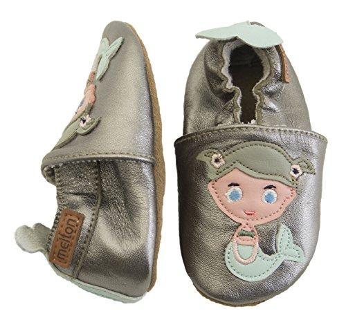 Melton Krabbelschuh Meerjungfrau, Chaussons pour enfant bébé fille Mehrfarbig (Silver)