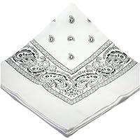 Large White Bandana with Black square Paisley pattern
