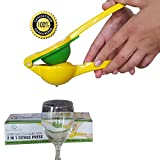 Lemon Squeezer Juice Extractor,Manual Citrus Juicer, Stainless-Steel, Heavy Duty, Suitable for Juicing Orange, Lemon and Other Hull-free Fruits (Yellow)
