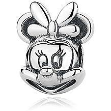 Charm Minnie Disney 100% Plata de Ley 925 para pulseras para charms tipo Pandora, Chamilia, Biagi, Swarovski. Abalorios disney minnie niña