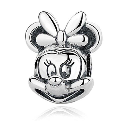 Sterling silver charms - charm in argento sterling 925, per braccialetti tipo pandora, chamilia, biagi, swarovski, motivo minnie (disney), da ragazza