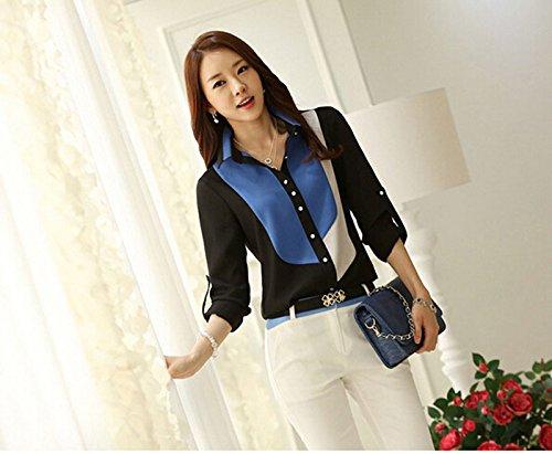 Italily - Camicette delle camicette della maglietta del chiffon della stampa del manicotto lungo sottile delle donne di modo Blue