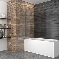 99140cm badewannenaufsatz duschabtrennung badewanne duschwand badewannenfaltwand 2 tlg glas dusche 180 grad schwenkbar - Glasdusche Kalk