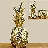 Deko-Dose Ananas H26cm gold Dolomit