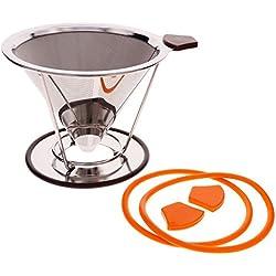 CALISTOUK Edelstahl über Konus Gießen Tropfer wiederverwendbar Coffee Filter w Cup Ständer