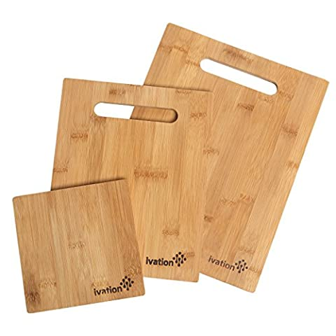 Ivation 3-Piece Bamboo Cutting Chopping Board Set – Great for