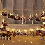 Elinker EU Stecker Lichterketten, 40 Photo Clips 5M Stimmungslichter mit Acht Mode Schalter für Party, Weihnachten, Dekoration,Hochzeit (Warmweiß)