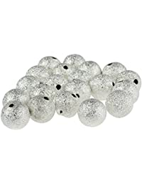 SODIAL(R) 20PCS Stardust Sparkle Round Beads 10mm Silver Plated