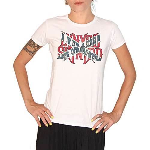 T-Shirt LYNYRD SKYNYRD – by Brain Factory Medium weiß (Lynyrd T-shirt Skynyrd Damen)