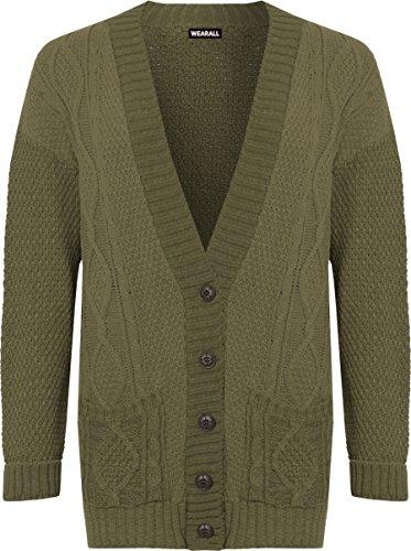 WEARALL Femmes Plus Câble Tricoter Cardigan Dames Bouton Poche Loungeue Manche Haut - 44-50 Vert