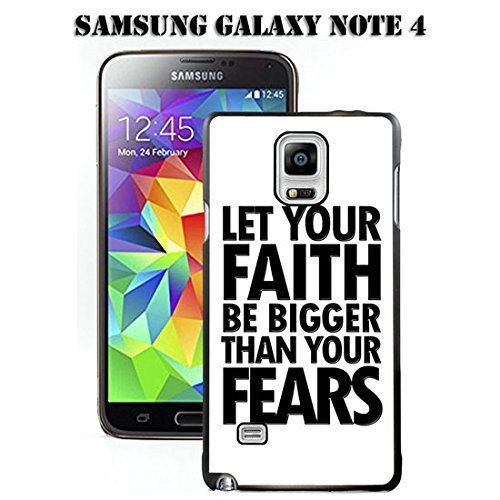 Note 4 Fall Samsung Galaxy Note 4 Schwarz Cover TPU Gummi Gel - Let Your Faith Be Größer als Ihre Ängste, A00-10 (Fall Samsung Note Galaxy)