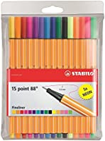 STABILO point 88 15er Etui, 10 + 5 Neonfarben - Fineliner