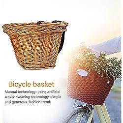 Panier de Vélo Avant Vintage avec Cuir Straps - Bicycle Basket Avant Osier Détachables - Tissé à Main Panier Tressé en Plein Air De Voiture Panier Fixation sur Guidon Velo