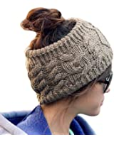 LOCOMO Women Girl Knit Cable Headband Hairband Head Wrap Crochet Hat Winter Warm FFH017 Brown Gray