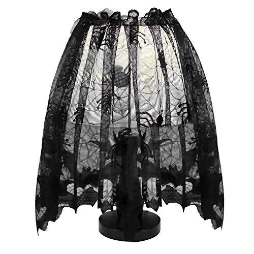 Gaddrt Spinnennetz Vorhang Halloween Gestrickter Vorhang Lampenschirm Schwarze Spinne Fledermaus Spitze