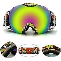 Occhiali da sci,CAMTOA UV400 Rivestimento Anti-nebbia Impermeabile Antivento Protezione UV400 Sci / Snowboard Occhiali, PC Oversize Dual-layer Lens TPU Frame per Sci Snowboard Skate Moto Sport Eyewear