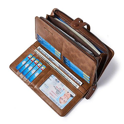 BOSTANTEN Geldbörse Herren/Damen Leder Geldbeutel Groß Portemonnaie mit Reißverschluss Lang Geldtasche Kartenfächer VintageKhaki -