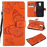 BoxTii® Galaxy A6 Plus Lederhülle, Kratzfeste Schutzhülle [mit Frei Panzerglas Displayschutzfolie] Karte Halter Hülle Etui für Samsung Galaxy A6 Plus (#7 Orange)
