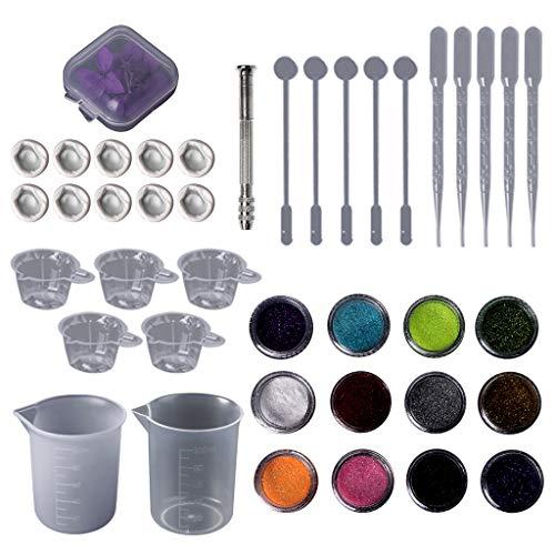 Glänzenden Pulver (Lazder 1 Set Epoxidharz Kit DIY Schmuck Trockene Blume Glitzer Pulver Glänzend Tropfer Cup Silikon Handarbeit Zubehör Gusswerkzeug)
