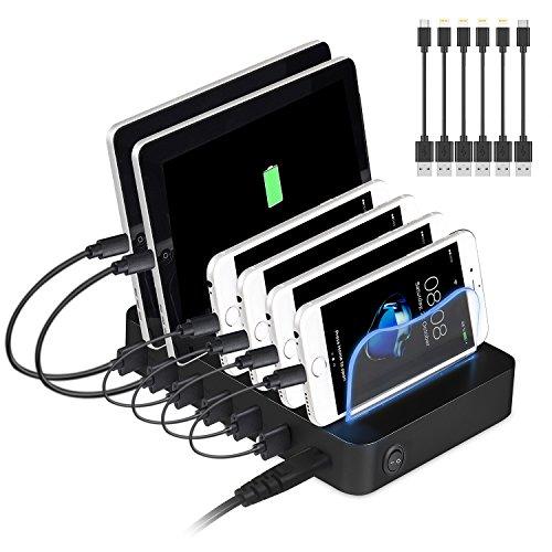 USB Ladestation, PRITEK 6 Ports Universell Ladegerät Für Mehrere Geräte Handys Tablets 50W 5V/10A Dockingstation für Apple iPhone iPad Samsung Smartphones mit 6 Kabel (Schwarz + Kabel)