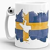 Flaggen-Tasse Schweden Fussball-Tasse - Fahne/Länderfarbe/Wasserfarbe/Aquarell/Cup/Tor/Qualität Made in Germany