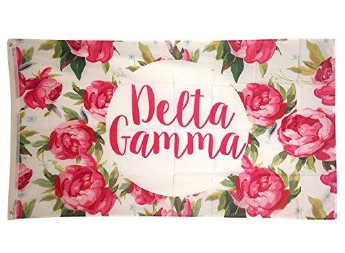 Delta Gamma weiß rose Muster Buchstabe Sorority Flagge griechischen Buchstaben Verwenden als großes Banner 3x 5Fuß DG - Sorority Delta Delta Geschenke Delta