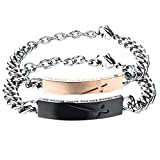 Cupimatch 2pcs Pärchen Armbänder, Edelstahl Lieben Panzerkette Armreif Kreuz Gravur Thank You for Being Beside me für verliebte Damen Herren, Rosegold schwarz Silber