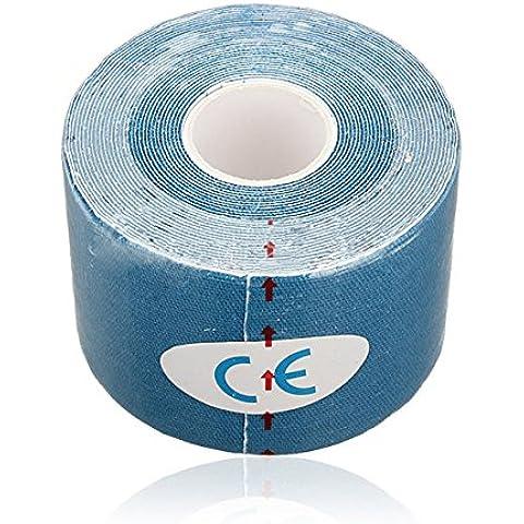 Sonline 1 rollo de Deportes Kinesiologia Musculos Cuidado Gimnasio Atletico 5M Cinta Salud * 5CM - Azul