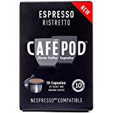 Cafe Pod Nespresso Compatible Ristretto (Pack of 4, Total 40 Pods)