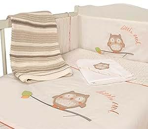 Nursery Owl Baby Bale Bedding Set Striped Reversible Cot