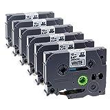 Brother P-Touch TZe 231;6x Unistar laminiertes Schriftband/ Etikettenband (äquivalent zu Brother TZe-231 TZ-231), schwarz auf weiß; 12mm x 8m; für Brother P-touch H105WB, D400, H100LB, D400VP, D500VP, P700, P750W uvm.