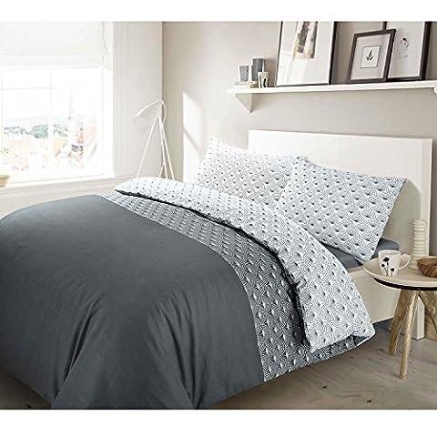 3pc Paloma Grey Floral 100% Cotton Quilt Duvet Cover & Pillowcases Set - Double