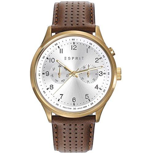ESPRIT Hommes Chronographe Quartz Montre avec Bracelet en Cuir ES109451001