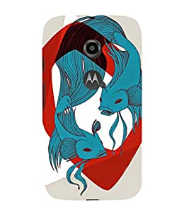 EPICCASE Two fishes Mobile Back Case Cover For Moto E 2nd Generation (Designer Case)