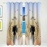 CUMIMI Beautiful Pusteblume mit Sunset isoliert Verdunkelung Abdunkelung Vorhänge für Schlafzimmer Wohnzimmer 139,7cm W x 213,4cm L, 2Einsätze