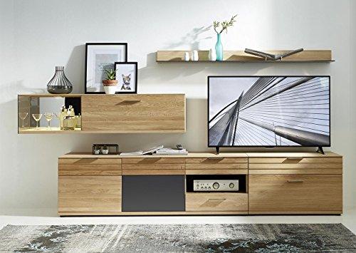 Wohnzimmerschrank, Wohnwand, Schrankwand, Anbauwand, Fernsehwand, Wohnzimmerschrankwand, Wohnschrank, Wildeiche, Graphit, Hochglanz, Beleuchtung