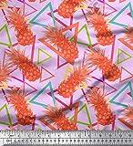 Soimoi Lila Seide Stoff Dreieck & Ananas Obst gedruckt